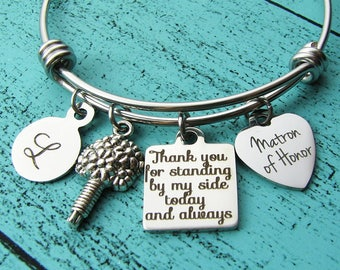 matron of honor gift, matron of honor proposal gift, moh bracelet jewelry, personalized wedding gift, bridesmaid jewelry, bridal party gift