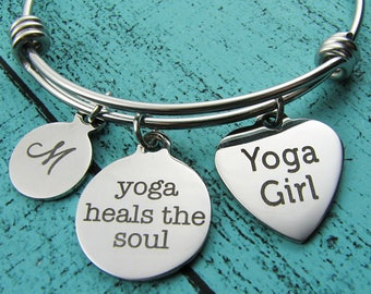 yoga girl gift, yoga heals the soul bracelet, recovery addiction gift, mindfulness jewelry, spiritual, yoga lover gift, encouragement gift