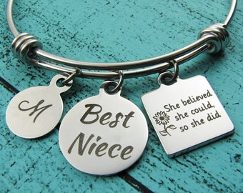 best niece gift, birthday gift niece bracelet, Christmas gift inspirational jewelry, encouragement, she believed she could, niece graduation