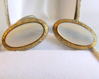 Vintage Mother of Pearl MOP and 10 karat 10k Yellow Gold Cufflinks - Wedding Jewelry, Inlay, Oval, Belle Epoque, Edwardian Era, Luster