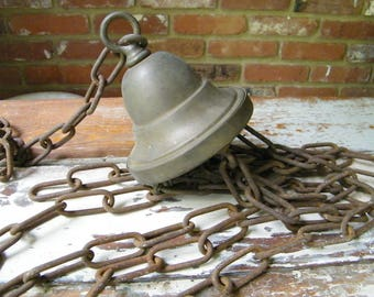 Vintage Brass Light Fixture Canopy Hub w/5 Rusty Chains for Parts Use Repair Restoration Repurpose