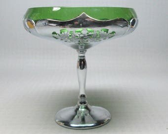 Farber Bros compote , art deco era , chrome and glass , glass is green