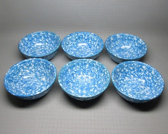 Stangl Town and Country blue spongeware set of 6 bowls .