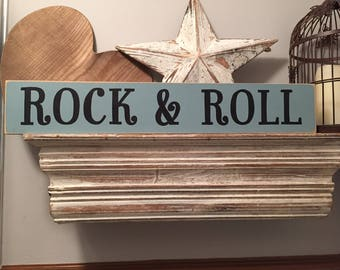 Handmade Wooden Sign - Rock & Roll - Rustic, Vintage, Shabby Chic, large 60cm