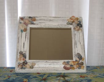 Shabby Chic Beach Cottage Sea Shell Mirror - Vintage Wood Framed Mirror - Chippy Distressed White