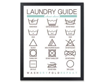 Laundry Guide Wall Art Laundry Instructions Laundry Symbols Wash care Laundry Room Sign Washing Labels laundry labels how to laundry print