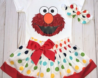 Elmo First Birthday Outfit, Cake Smash Outfit, Baby Girl 1st Birthday Outfit, Knot Bow Headband, Elmo Onesie Skirt Set, Rainbow Dots Elmo