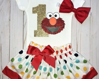 Elmo First Birthday Outfit, Cake Smash Outfit, Baby Girl 1st Birthday, Knot Bow Headband, Elmo One Glitter Onesie Skirt Set, Rainbow Dots