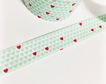 Teeny Tiny Mint and Red Hearts Mint Hearts with Scattered Bright Red Hearts Washi Tape 11 yards 10 meters 15mm