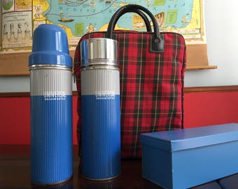 Vintage Plaid Picnic Bag and Thermos Collection Summertime Roadtrips and Camping Retro Decor Universal Brand