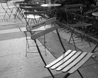 New York Bryant Park Photography, Black and White NYC Art Manhattan Prints Downtown Wanderlust Travel Black and White