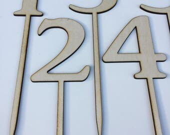 Wood wedding table numbers - Rustic