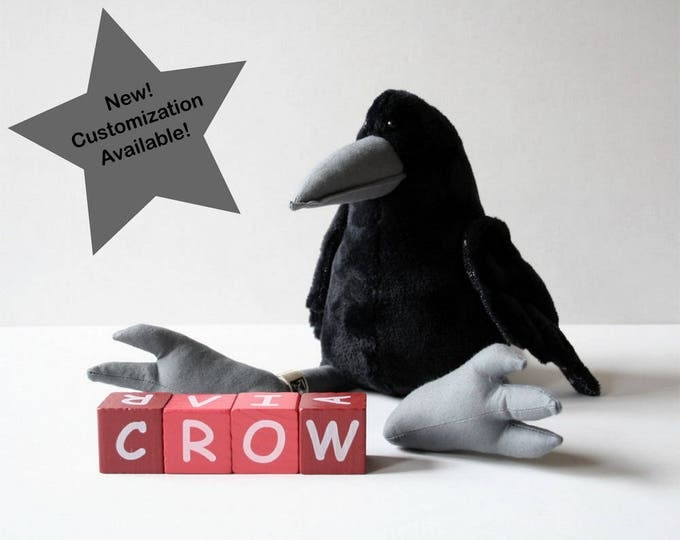 Black Crow Plush Birdie, Cuddly Raven Plush Toy - New feature! Color variations, Personalized outfit