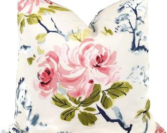 Chinoiserie Cherry Blossom Decorative Pillow Cover 18x18, 20x20, 22x22, 24x24, 26x26 or lumbar pillow, throw pillow, toss pillow