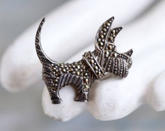 Terrier Dog Lapel Pin - Marcasite and Sterling Silver Art Deco Brooch - Antique Oxidized Jewelry