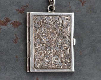 Book Locket Necklace - Sterling Silver Antique Photo Keepsake Pendant on Chain