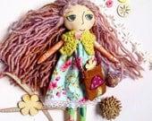Woodland Meadow Girl - Handmade cloth doll