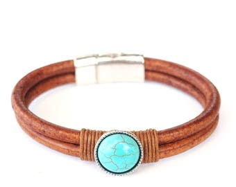 Toffee Leather and Turquoise