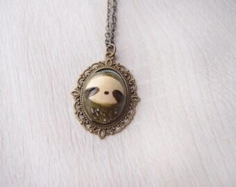 OOAK handmade sloth necklace