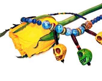 Howlite Skull Beaded Collar Necklace