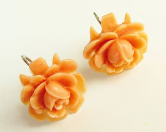 Coral Rose Celluloid Earrings 1940s signed Japan