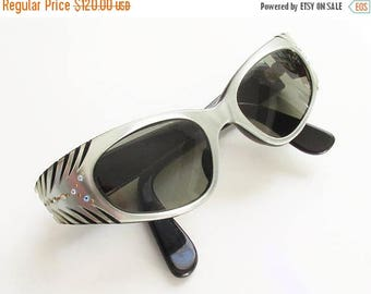 ON SALE Vintage France Cateye Lucite Sunglasses Silver Black Rhinestone 1950s Etched Wing 44/20
