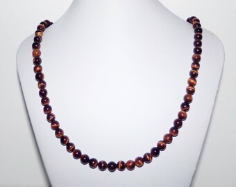 Red Tigereye Necklace, Tiger eye Bead Necklace, Red Necklace, Handmade Necklace, Designer Necklace, Big Bead Necklace