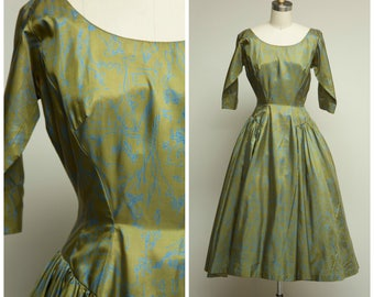 Vintage 1950s Dress • Roselyne Dreams • Moss Green and Blue Printed Silk 50s Dress by Anne Fogarty Size Small
