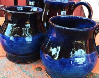 Handmade Blue and Red Mug Set of 4