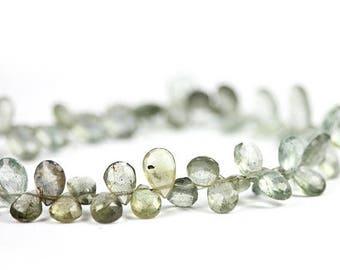SUMMER SALE Moss Aquamarine Faceted Pear Briolettes 6 Pale Blue Green Olive Semi Precious Gemstone March birthstone