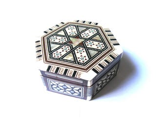 Egyptian Handmade Inlaid Wooden Hexagon Keepsake Box Red Velvet Lining