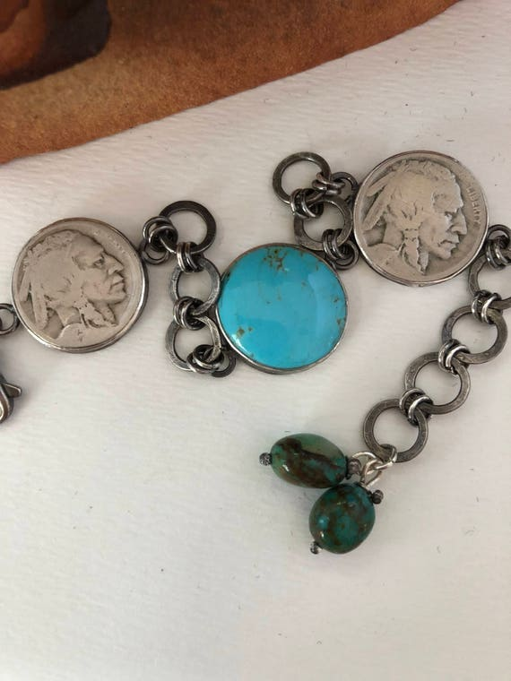 Handmade Jewelry, Southwestern Jewelry, OOAK, Blue Kingman Turquoise, Vintage Indian Head Nickel, Chain Bracelet