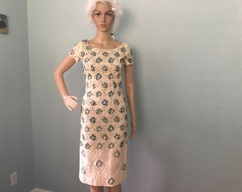 1950s Cream Lace and Turqouise Sequins Wiggle Dress