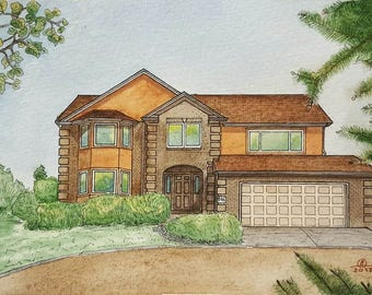Turn photo into painting, Watercolor House Portrait, Original painting from photo, Home architectural sketch in color, Color home portrait