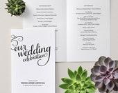Casual Calligraphy / Romantic Script / Wedding Program / Order of Service / DIY Printable PDF Template
