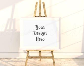 8x10 16x20 easel frame mockup, white landscape frame on easel, landscape 16x20 frame,product mockup,Mockup Print Background DIGITAL DOWNLOAD