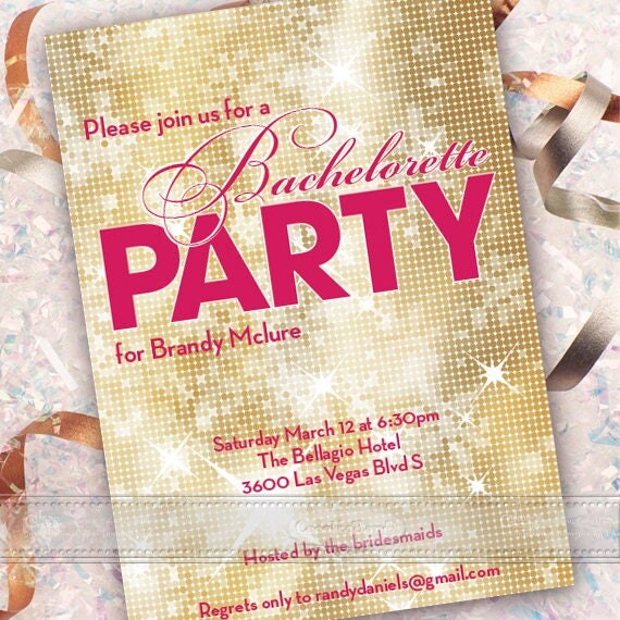 bachelorette party invitation, bachelorette party, gold bachelorette party, fuchsia bachelorette party, lingerie party, IN633