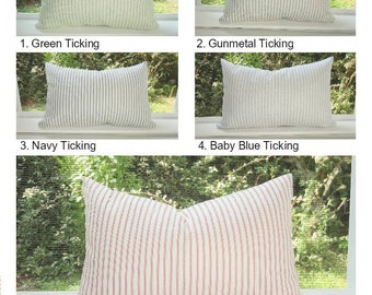 Farmhouse Style Gingham Ticking Stripe Rustic Decor Home Decor by HomeLiving Pillow Covers Choose Size