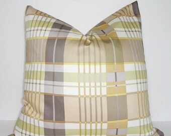 SPRING FORWARD SALE Gold Beige Grey Taupe Green Stripe Plaid Pillow Cover Home Decor by HomeLiving Size 18x18