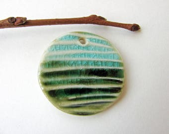 Green Meadow Blue Sky Pendant Stoneware Clay