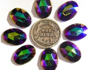 Preciosa oval facetted glass flatbacks 14x10mm Multi Iris Unfoiled - 1 Piece