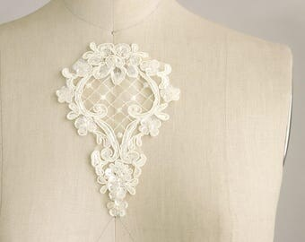 Ivory Venise Lace Sequin Beaded Venice Lace Diamond Organza Applique Corded / Pearl / Venetian Lace / Bridal / Wedding / Christening