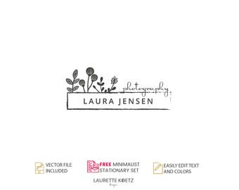 Photography Logo Design - Instant Download -Typography DIY Logo Template.Custom Logo Design. Jewellery Logo. Premade Logo. -LAURA JENSEN
