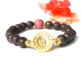 WOODEN Third Eye mala with Rhodochrosite