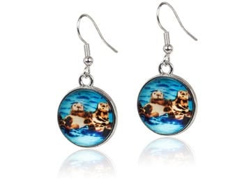 Sea Otter Earrings - From My painting, Best Friends by Salvador Kitti