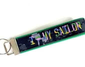 I Love My Sailor US NAVY Nametape Keyfob ~ Any Color Available