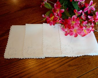 Linen Cocktail Napkins Set of Four White Lunch Napkins White Embroidery Vintage Table Linens
