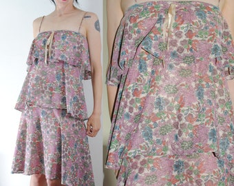 70s layered dress floral tiered flutter spaghetti strap sun dress vintage