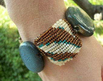 CLEARANCE SALE Bead Woven Animal Print Bracelet in Blue & Brown with Toggle