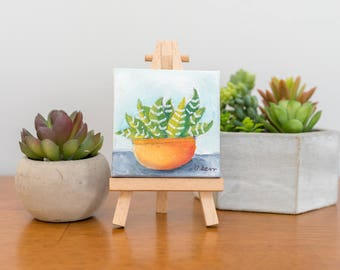 Mini Succulent Original Oil Painting 3x3 Succulent Painting, Cacti Painting, Cactus Art, Succulent Home Decor, Small Painting Gifts Under 20